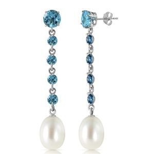 CHANDELIERS EARRINGS WITH BLUE TOPAZ & PEARL